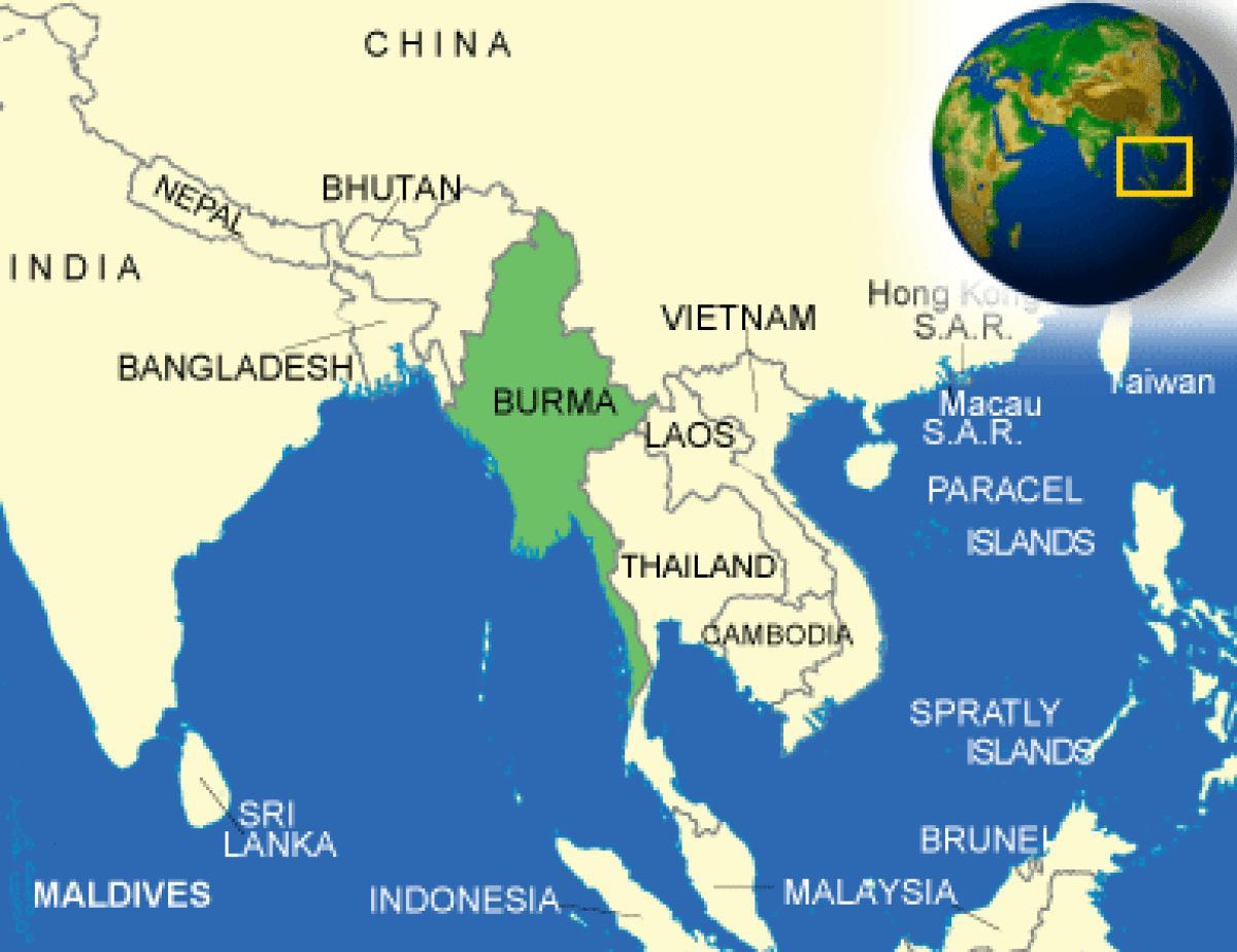 Kort Over Burma Myanmar Burma Eller Myanmar Kort Syd Ostlige