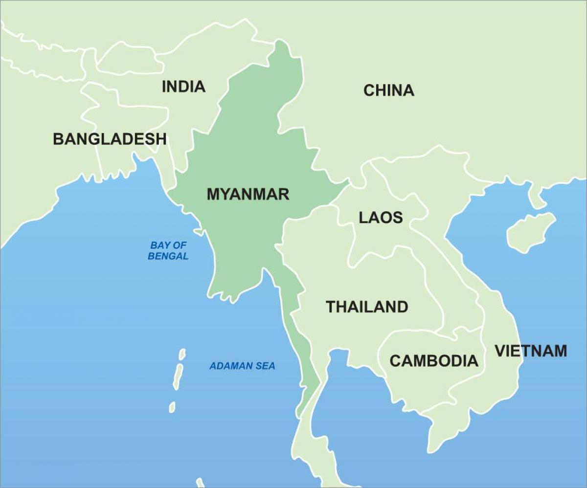 Burma Asien Kort Burma Pa Kort Over Asien Syd Ostlige Asien