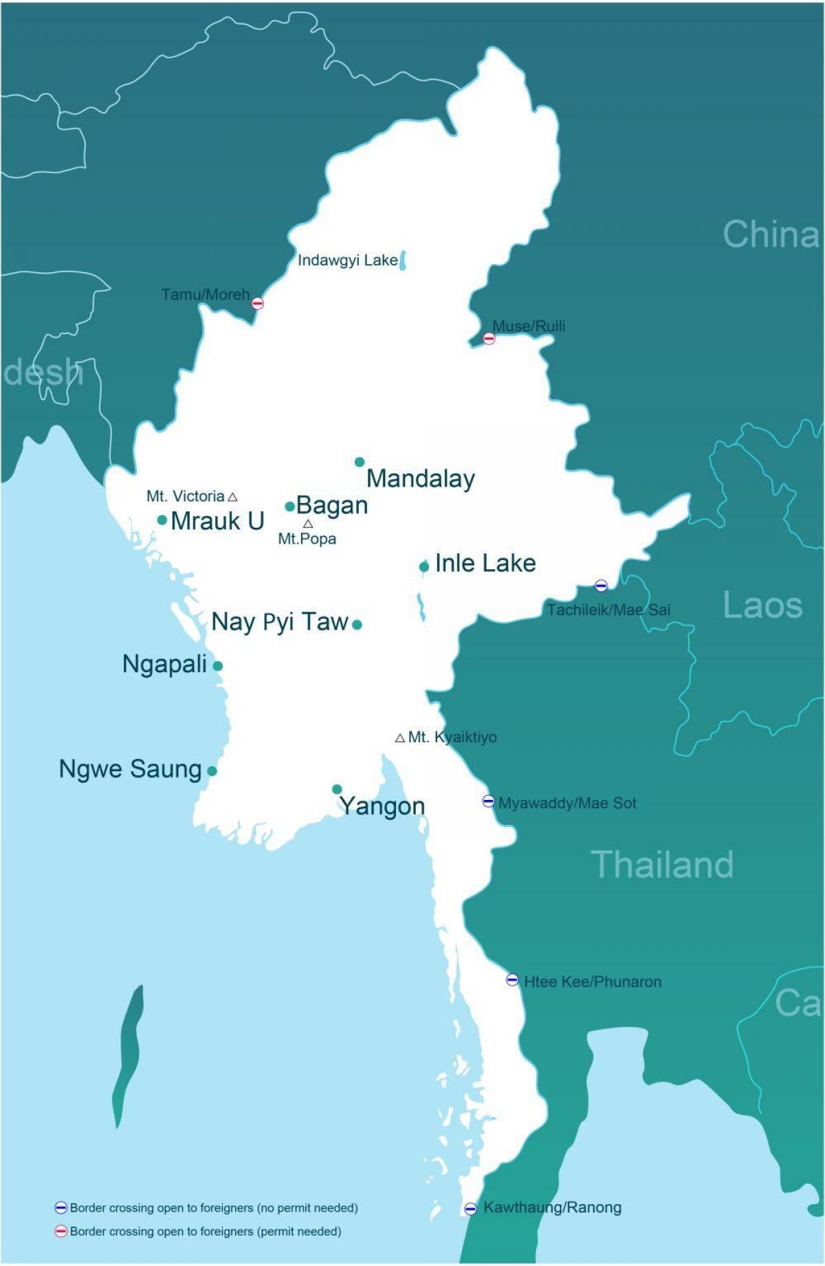 Myanmar Afstand Kort Kort Over Myanmar Afstand Syd Ostlige